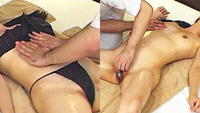 悪徳マッサージ師が清楚な黒髪美乳女性のマンコを手マンで攻めまくる!